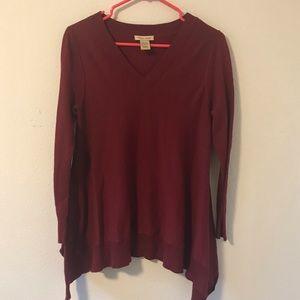 Anthropologie brand Vertical Design Maroon Sweater